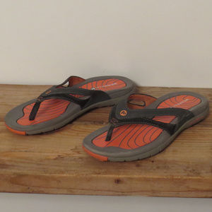 Black & Coral Merrell Flip Flop Sandals Sz 6 EUC
